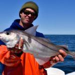 Рыбак с большой пикшей в руках