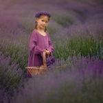 девочка с корзинкой на поле лаванды