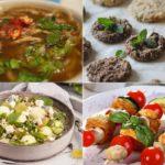 соус, салат и мясные блюда с мятой