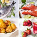 картофель, рыба и напитки с розмарином
