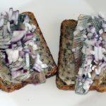 бутерброды с черным хлебом, селедкой и луком