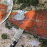 копченая красная рыба, нарезка