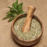 сухой измельченный чай мате, свежие листья падуба парагвайского